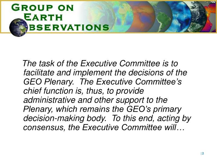The task of the Executive Committee is to facilitate and implement the decisions of the GEO Plenary....