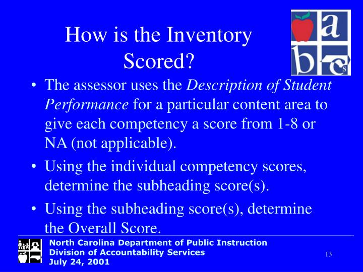 How is the Inventory Scored?