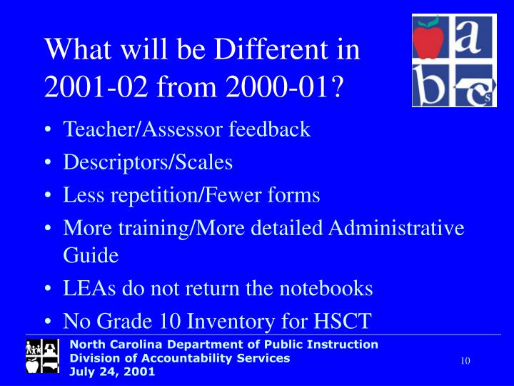 What will be Different in 2001-02 from 2000-01?