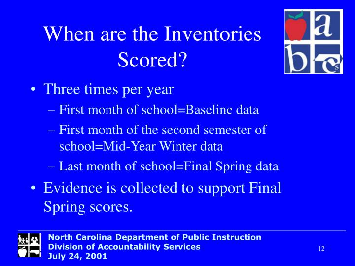 When are the Inventories Scored?