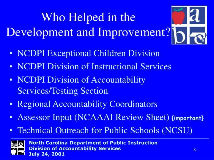 Who Helped in the     Development and Improvement?