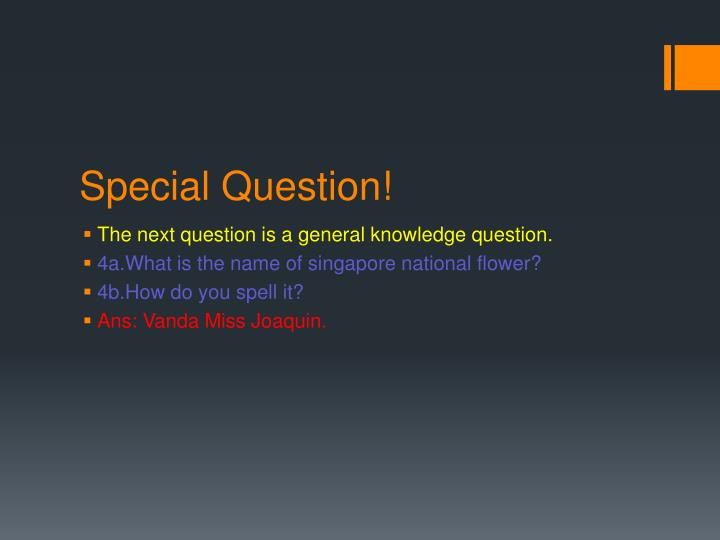Special Question!