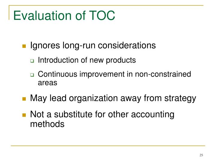 Evaluation of TOC