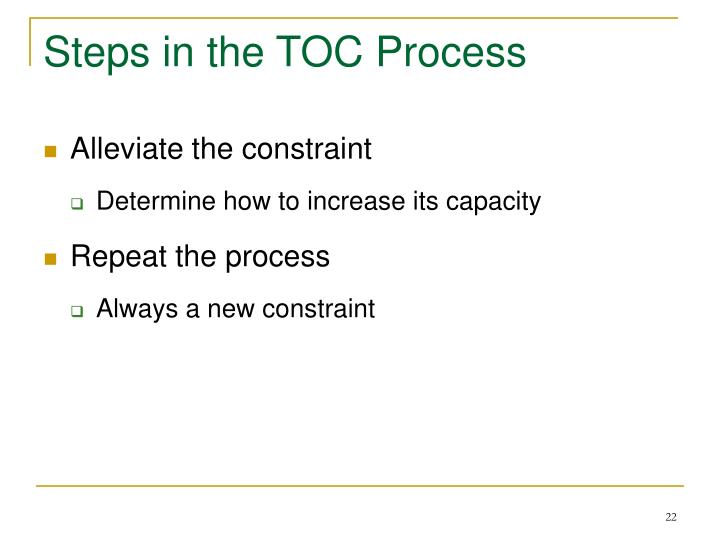 Steps in the TOC Process