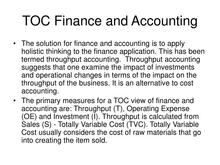 TOC Finance and Accounting