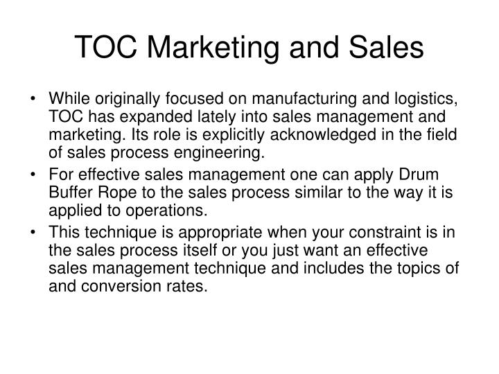 TOC Marketing and Sales