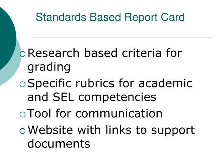 Standards Based Report Card