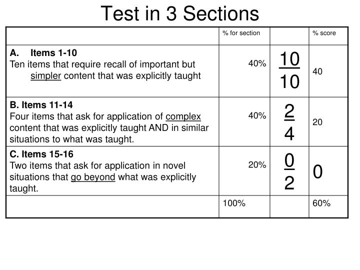 Test in 3 Sections
