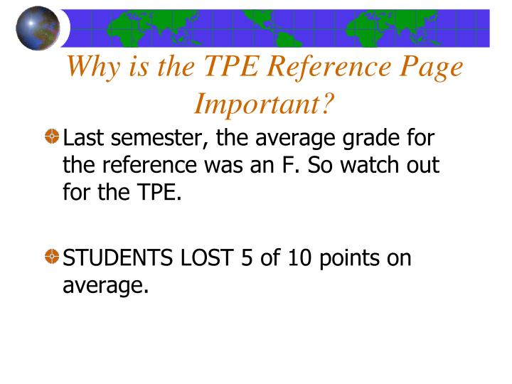 Why is the TPE Reference Page  Important?