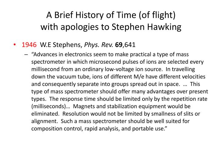A Brief History of Time (of flight)