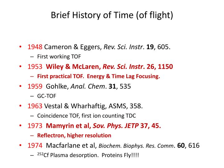 Brief History of Time (of flight)