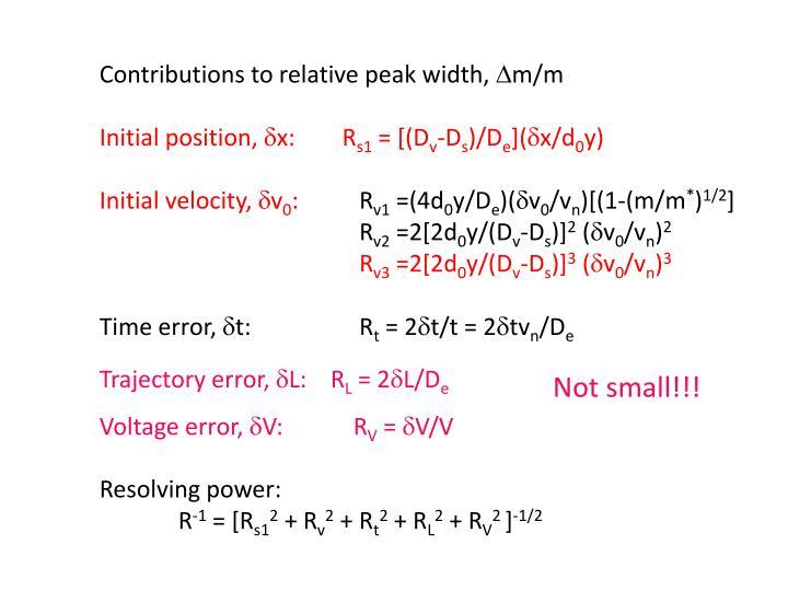 Contributions to relative peak width,