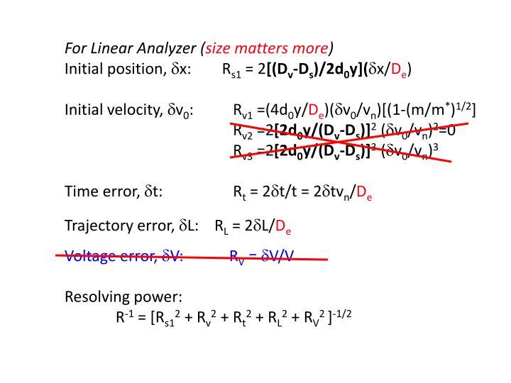 For Linear Analyzer (
