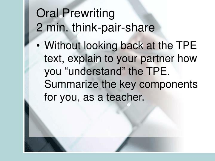 Oral Prewriting