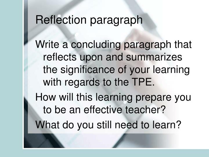 Reflection paragraph