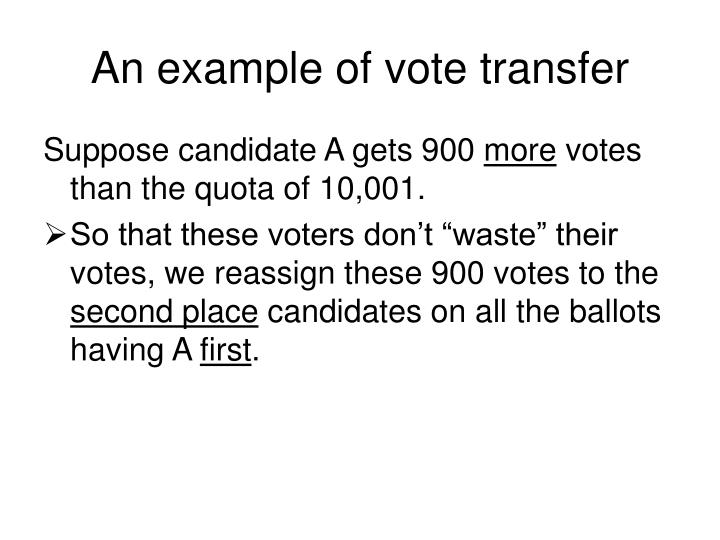 An example of vote transfer