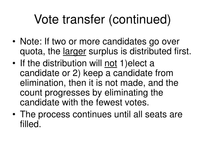 Vote transfer (continued)