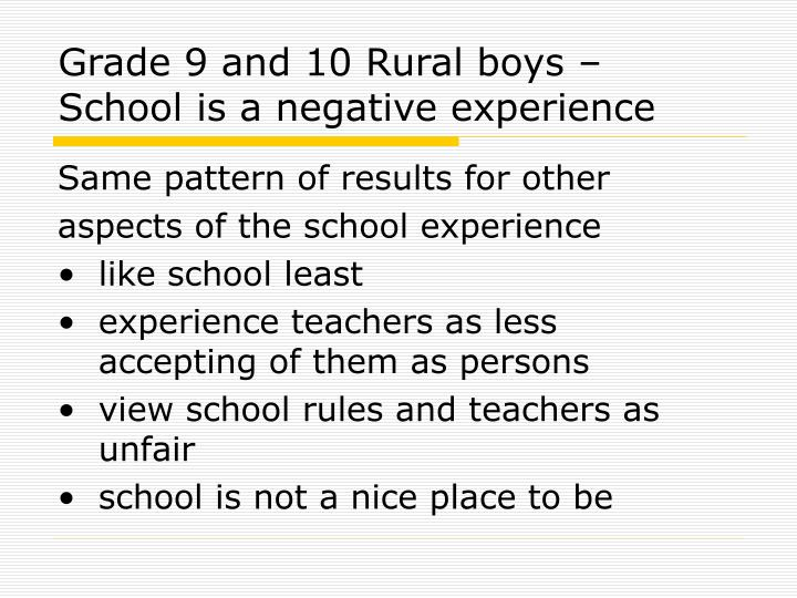 Grade 9 and 10 Rural boys – School is a negative experience