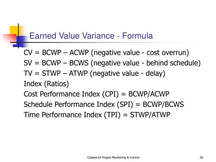 Earned Value Variance - Formula