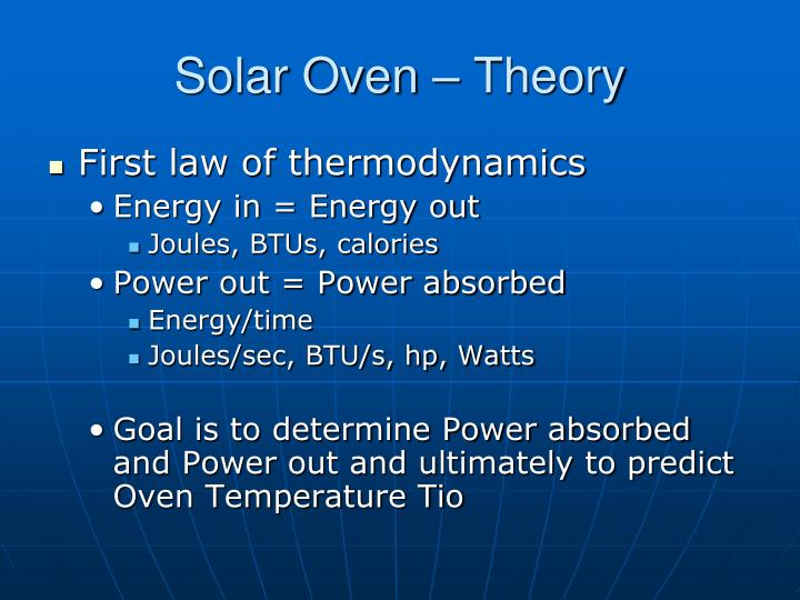 Solar Oven – Theory