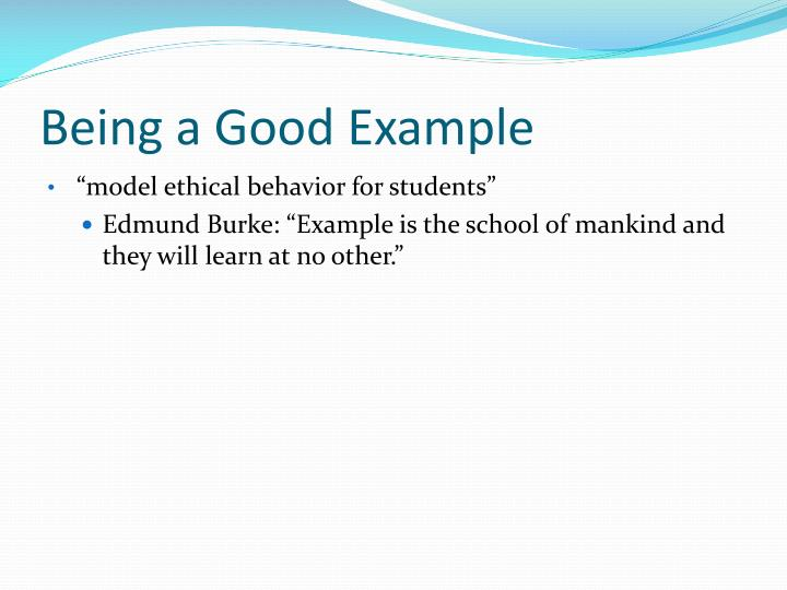 Being a Good Example