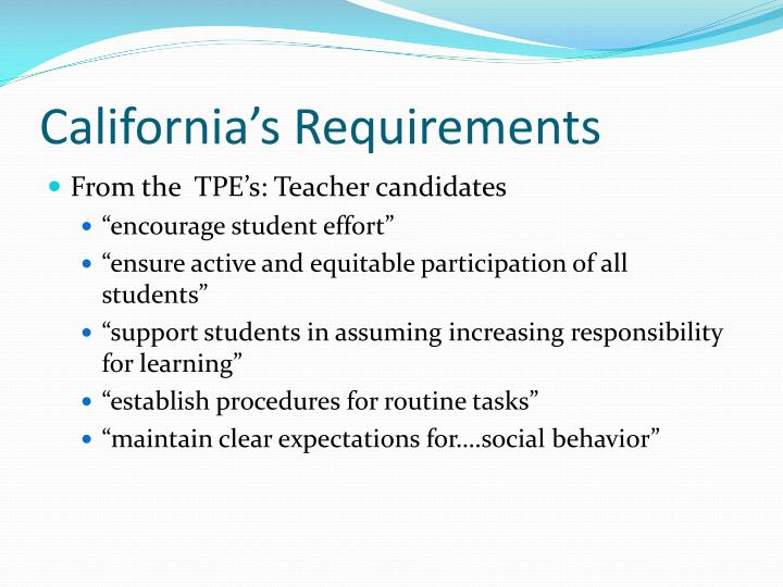 California's Requirements