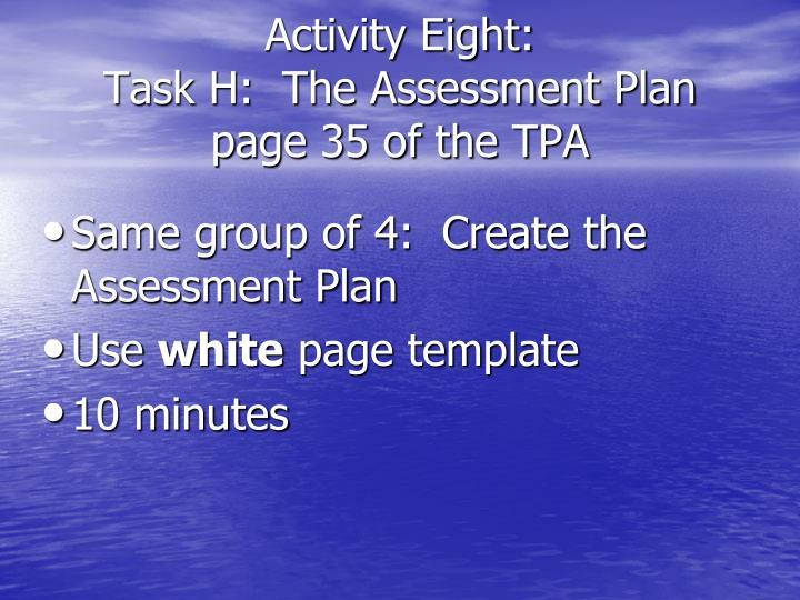 Activity Eight: