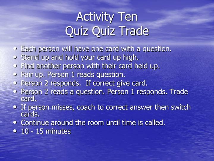 Activity Ten