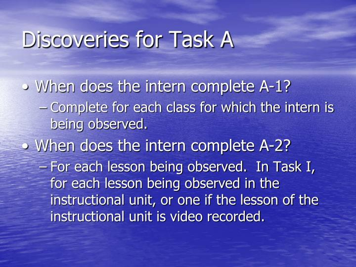 Discoveries for Task A