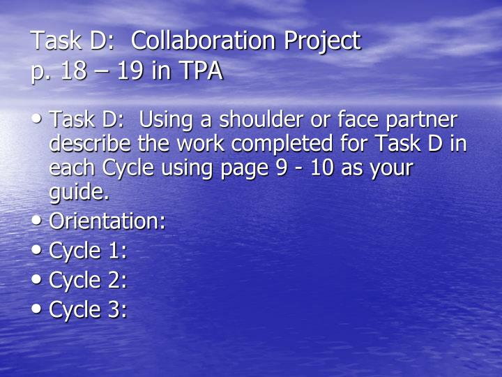 Task D:  Collaboration Project