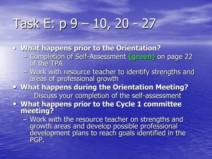 Task E: p 9 – 10, 20 - 27