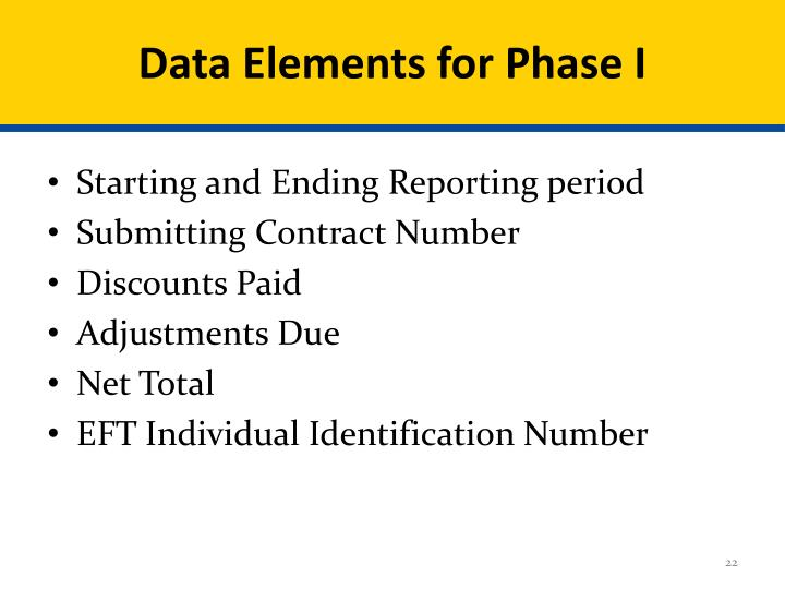 Data Elements for Phase I
