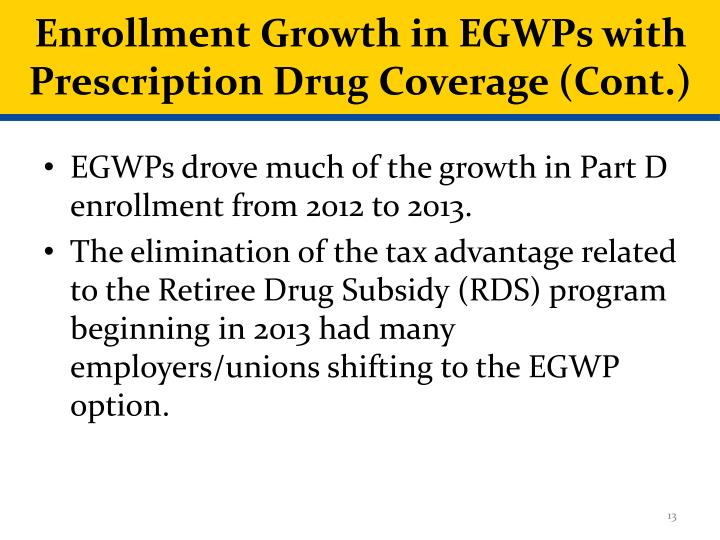Enrollment Growth in EGWPs with Prescription Drug