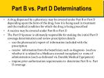 part b vs part d determinations