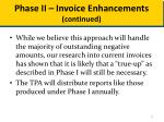 phase ii invoice enhancements continued