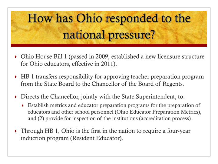 How has Ohio responded to the national pressure?