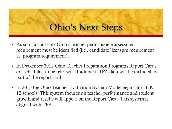 Ohio's Next Steps
