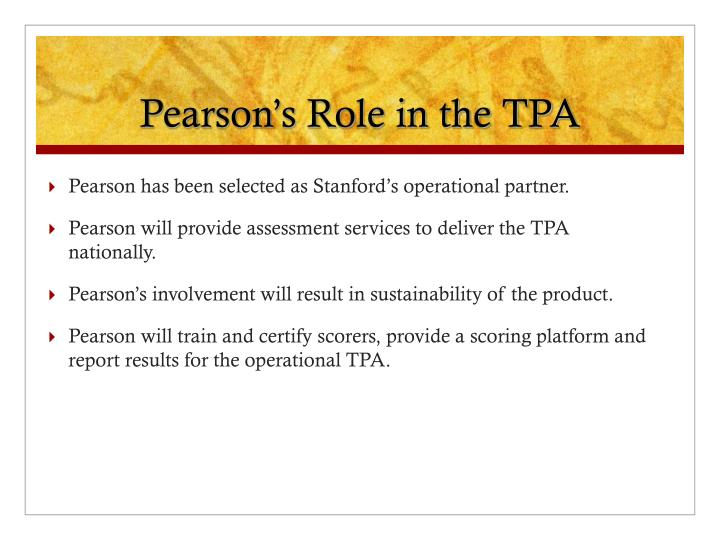 Pearson's Role in the TPA