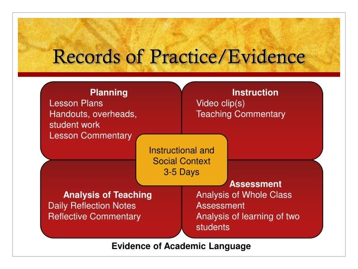Records of Practice/Evidence
