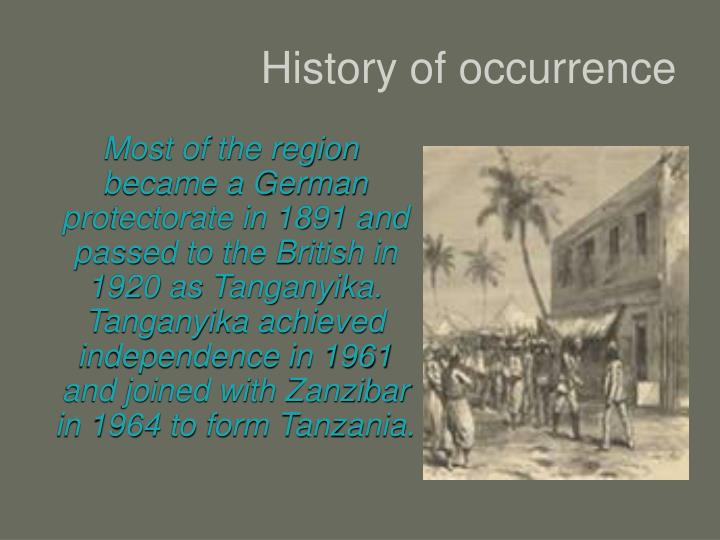 History of occurrence