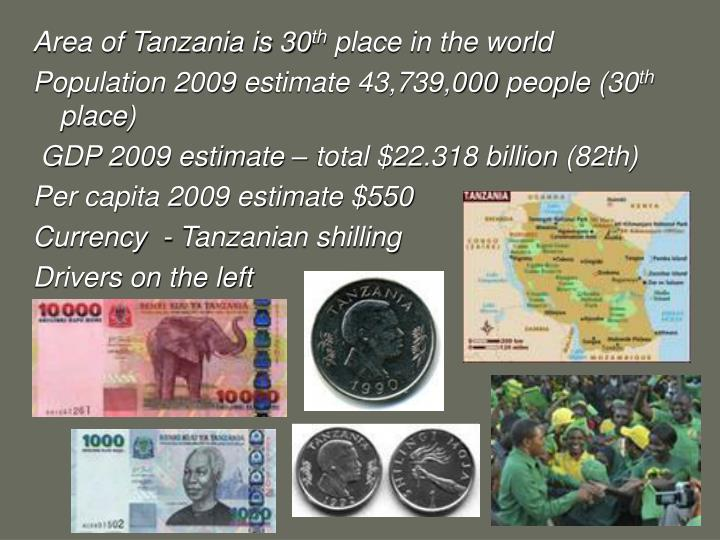 Area of Tanzania is 30