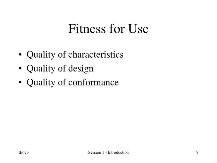 Quality of characteristics