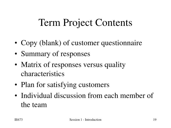 Term Project Contents
