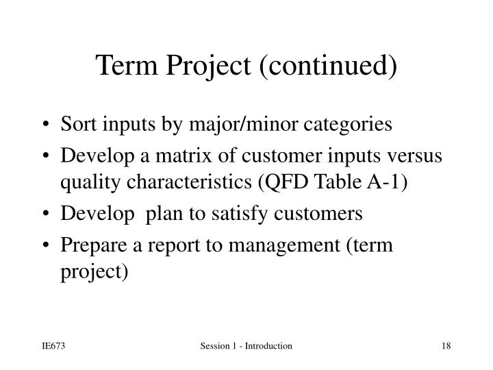 Term Project (continued)