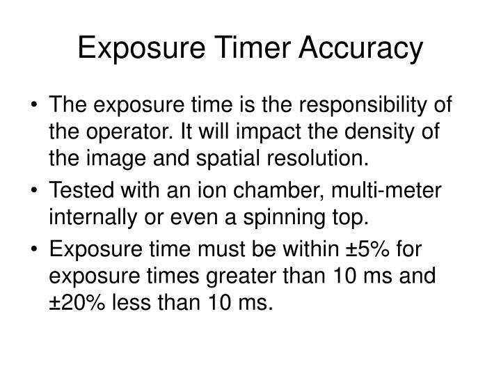 Exposure Timer Accuracy