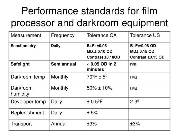 Performance standards for film processor and darkroom equipment