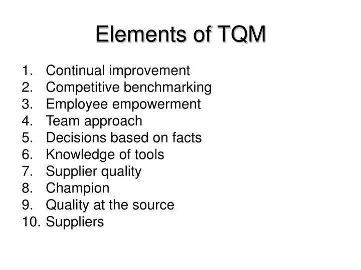 Elements of TQM