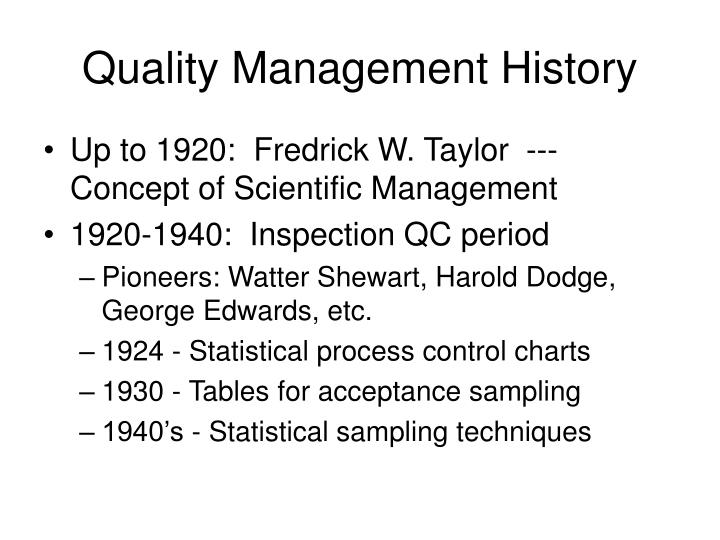 Quality Management History