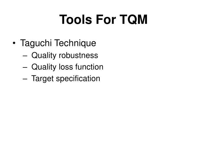 Tools For TQM