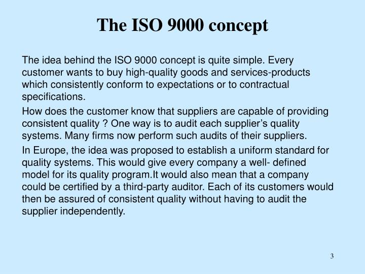 The iso 9000 concept